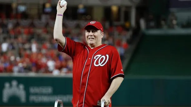 House Majority Whip Steve Scalise, R-La., throws out a ceremonial first pitch before Game 1 of baseball's National League Division Series between the Washington Nationals and the Chicago Cubs, at Nationals Park, Friday, Oct. 6, 2017, in Washington. (AP Photo/Alex Brandon)