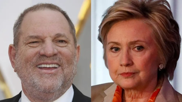 Hillary Clinton, champion for women and first female Democratic Presidential Nominee (right) has been silent since her friend and financial backer, Hollywood titan Harvey Weinstein, was fired for sexually harassing actresses and female employees.