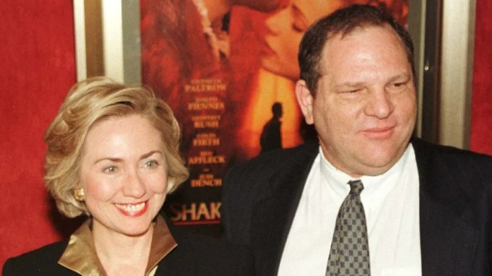 Hillary Clinton goes back a long way with Harvey Weinstein. The two are shown here arriving for the premiere of 'Shakespeare in Love' in New York.