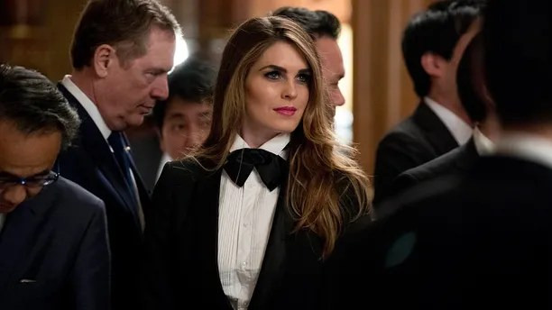 U.S. President Donald Trump's White House Director of Strategic Communications Hope Hicks arrives at a state banquet at the Akasaka Palace, Monday, Nov. 6, 2017, in Tokyo. Trump is on a five-country trip through Asia traveling to Japan, South Korea, China, Vietnam and the Philippines. (AP Photo/Andrew Harnik)