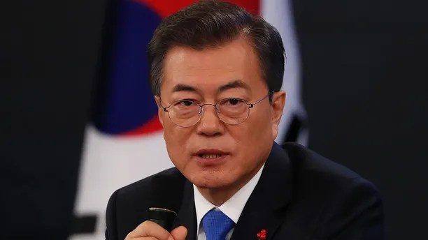 South Korean President Moon Jae-in answers reporters' question during his New Year news conference at the Presidential Blue House in Seoul, South Korea, Wednesday, Jan. 10, 2018. Moon said Wednesday he's open to meeting with North Korean leader Kim Jong Un if certain conditions are met, as he vowed to push for more talks with the North to resolve the nuclear standoff. (Kim Hong-Ji/Pool Photo via AP)