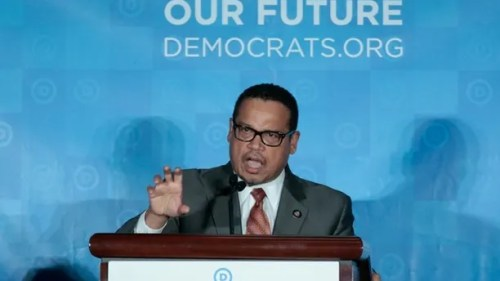 Democratic National Chair candidate, Keith Ellison, addresses the audience as the Democratic National Committee holds an election to choose their next chairperson at their winter meeting in Atlanta, Georgia. February 25, 2017. REUTERS/Chris Berry - RC1CDF70D6E0