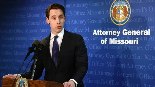 Missouri Attorney General Josh Hawley announced during a Tuesday, April 17, 2018, press conference in his Jefferson City, Mo., office that he has found evidence that Gov. Eric Greitens committed a crime. Hawley got permission Monday to share his evidence with prosecutors in St. Louis, Mo., the jurisdiction where the alleged crime took place.   (Julie Smith/The Jefferson City News-Tribune via AP)