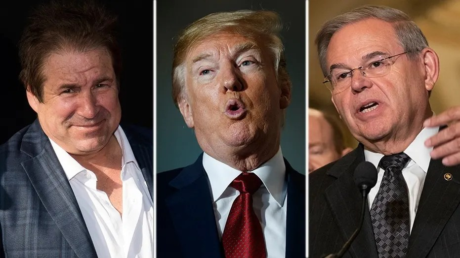 Comedian John Melendez (left) says he was patched through to President Trump (middle) on Air Force this week after impersonating Democratic Sen. Bob Menendez (right).