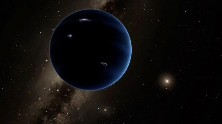 """Artist illustration of """"Planet Nine,"""" a hypothetical world about 10 times more massive than Earth."""