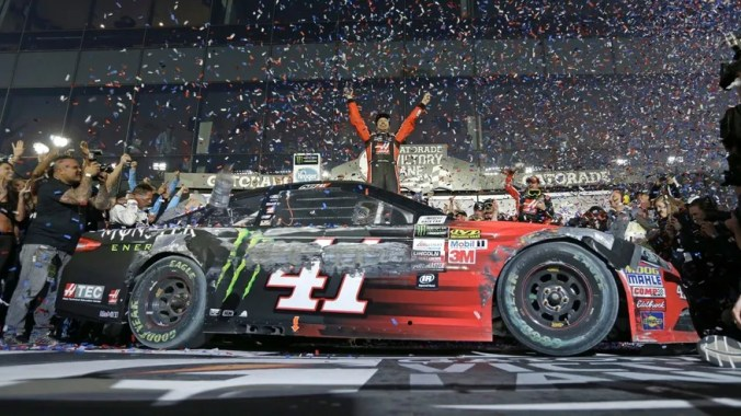 Feb. 26, 2017: Kurt Busch celebrates in Victory Lane after winning the Daytona 500.