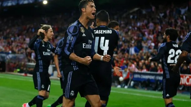 Real Madrid's Cristiano Ronaldo reacts after a goal of his team during the Champions League semifinal second leg soccer match between Atletico Madrid and Real Madrid at the Vicente Calderon stadium in Madrid, Wednesday, May 10, 2017. (AP Photo/Francisco Seco)