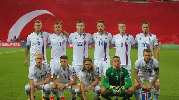 FILE - In this Friday, Oct. 6, 2017 filer players of Iceland's national squad pose for photographs prior to the World Cup Group I qualifying soccer match between Turkey and Iceland in Eskisehir, Turkey. (AP Photo, File)