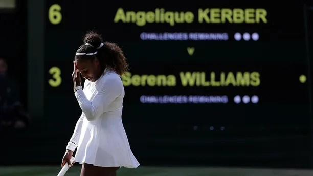 Serena Williams of the United States is dejected after losing a game during her women's singles final match against Germany's Angelique Kerber at the Wimbledon Tennis Championships, in London, Saturday July 14, 2018.(AP Photo/Ben Curtis)