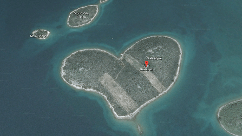 Google Maps users intrigued by heart shaped island caught on     A heart shaped island off the coast of Croatia is now capturing attention  from Google