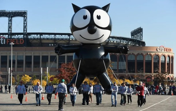 NEW YORK, NY - NOVEMBER 05: Felix the Cat flies at Macy's Balloonfest in preparation for the 90th Anniversary Macy's Thanksgiving Day Parade at Citi Field on November 5, 2016 in New York City. (Photo by Dave Kotinsky/Getty Images for Macy's Parade)
