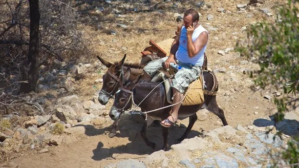 RHODES, GREECE - JUlLY 04: Man is talking on his mobile phone while riding donkeys up to the Acropolis of Lindos on July 04, 2010 in Lindos, Greece. The old town of Lindos is famous for its class listed monuments and the ancient Acropolis, listed at the  Unesco World Heritage. Rhodes is the largest of the Greek Dodecanes Islands. (Photo by EyesWideOpen/Getty Images)