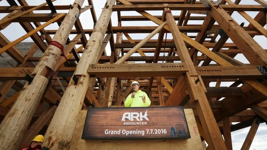 Nov. 12, 2015: Ken Ham, co-founder and president of Answers in Genesis, the group that is building Ark Encounter, addresses the media during a press conference in Williamstown, Ky.
