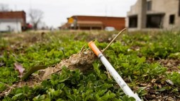 A syringe is pictured in downtown Austin, Indiana, in this photo.