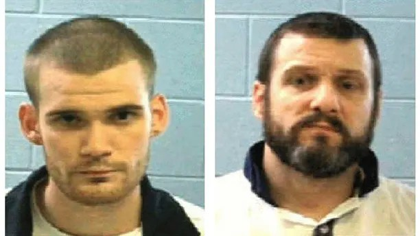 """This combo of undated photos provided Tuesday, June 13, 2017, by the Georgia Department of Corrections shows inmate Ricky Dubose, left, and Donnie Russell Rowe. A Georgia sheriff said officers were """"desperately"""" searching Tuesday for the two inmates who somehow got through a gate inside a prison bus, killed two guards and got away. (Georgia Department of Corrections via AP)"""