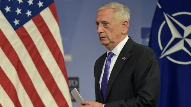 FILE PHOTO: U.S. Secretary of Defence Jim Mattis leaves a news conference after a NATO defence ministers meeting at the Alliance headquarters in Brussels, Belgium June 29, 2017. REUTERS/Eric Vidal
