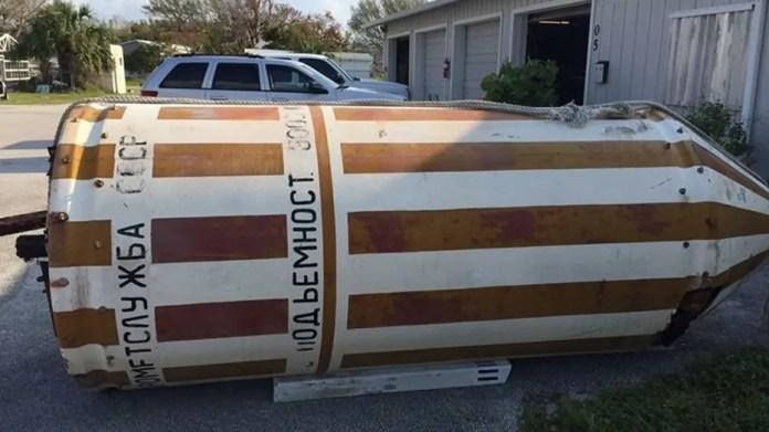 A 12-foot Cold War-era Soviet float surfaced on Dania Beach in South Florida after Hurricane Irma.