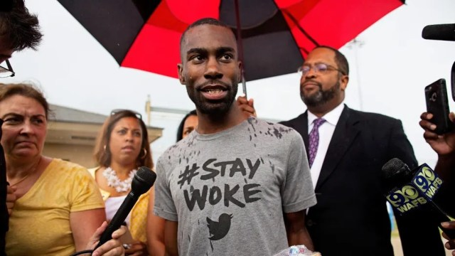 """DeRay Mckesson, a leader of the Black Lives Matter movement, was accused of """"inciting violence"""" that led to a deadly police ambush in Baton Rouge, La. on July 17, 2016."""