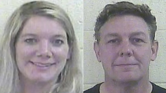 Aimee Friz, left, and Alan Friz, right, were arrested after their daughter alleged she was locked in a cage without food or water.
