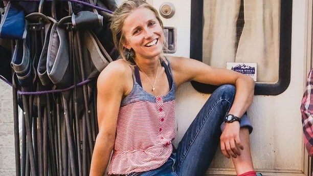 In this undated photo provided by Louis Arevalo, Inge Perkins poses for a photo. Gallatin County sheriff's officials say Perkins was skiing with her boyfriend Hayden Kennedy on Imp Peak on Saturday, Oct. 7, 2017, when they triggered an avalanche in a steep, narrow gulley. Perkins, was buried by the 150-foot-wide slide. Kennedy, who was partially buried, pulled himself free and hiked out for help after he couldn't find his girlfriend. Kennedy was found dead in a home Sunday as search teams prepared to recover Perkins' body. (Louis Arevalo via AP)