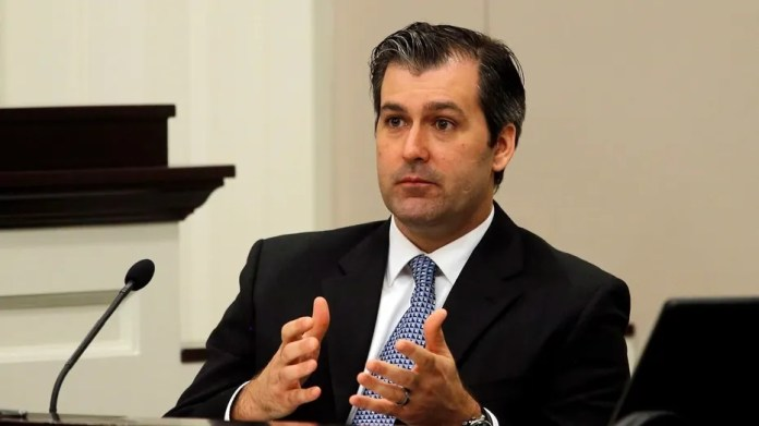 Former North Charleston police officer Michael Slager testifies during his murder trial at the Charleston County court in Charleston, S.C.