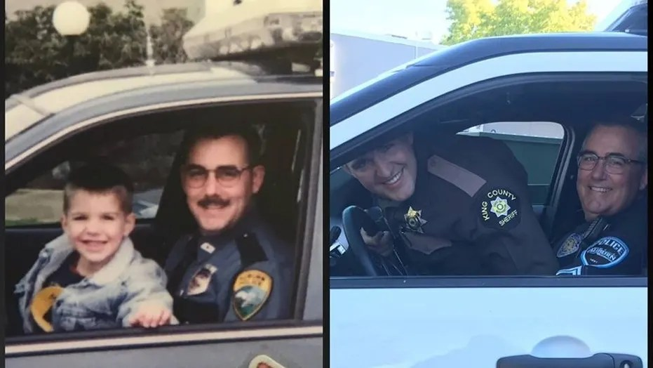 The father-son duo recreated the photo in light of Father's Day.