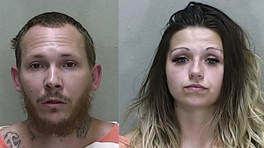 Ocala Police said William Parrish Jr. (left) and McKenzee Dobbs (right) sold drugs out of a drive-thru window in their mobile home in Florida. The couple was arrested on August 23.