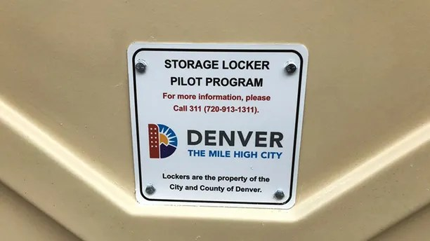 This May, 2017 photo provided by the City and County of Denver shows a detail of a large locker that the city had installed for homeless people to store their belongings in. The city in a pilot program paid $  30,000 for 10 4-feet by 6-feet (1.2-meter by 1.8-meter) containers meant to give homeless people a safe place to store clothing and other possessions. Denver officials have removed large outdoors storage containers set up last year for homeless people after officials discovered that people were living inside them. (City and County of Denver via AP)