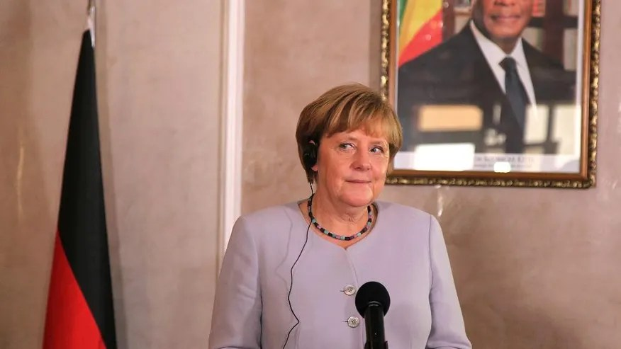 German Chancellor Angela Merkel attends a press briefing with Malian President Ibrahim Boubacar Keita, after her arrival at Bamako, Mali, Sunday, Oct. 9, 2016. Merkel is on a three day tour in Africa, visiting, Mali, Niger, and Ethiopia. (AP Photo/Baba Ahmed)