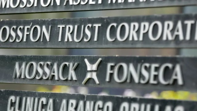 FILE - In this April 4, 2016 file photo, a marquee of the Arango Orillac Building lists the Mossack-Fonseca law firm, in Panama City.  Prosecutors in Panama said on Saturday, Feb. 11, 2017 they've formally arrested the two partners of the Mossack-Fonseca law firm involved in last year's