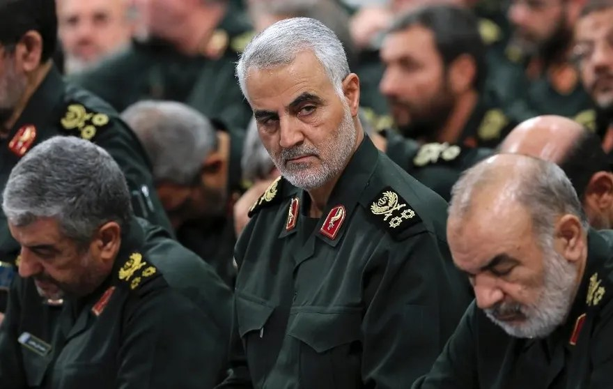 "In this Sept. 18, 2016 photo released by an official website of the office of the Iranian supreme leader, Revolutionary Guard Gen. Qassem Soleimani, center, attends a meeting with Supreme Leader Ayatollah Ali Khamenei and Revolutionary Guard commanders in Tehran, Iran. As Saudi Arabia holds a naval drill in the strategic Strait of Hormuz, Soleimani, a powerful Iranian general was quoted, Wednesday, Oct. 5, 2016, by the semi-official Fars and Tasnim news agencies as suggesting the kingdom's deputy crown prince is so ""impatient"" he may kill his own father to take the throne. While harsh rhetoric has been common between the two rivals since January, the outrageous comments by Soleimani take things to an entirely different level by outright discussing Saudi King Salman being killed. (Office of the Iranian Supreme Leader via AP)"