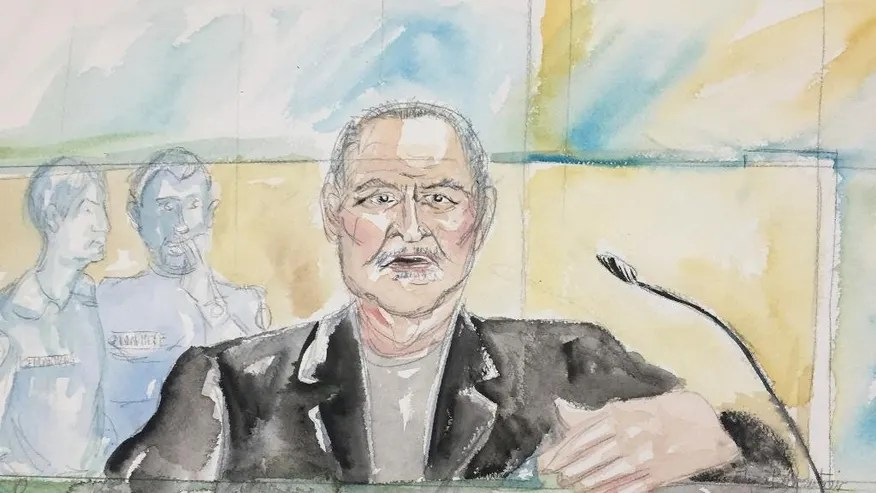 """This courtroom sketch dated Tuesday, March 28, 2017, shows Venezuelan-born Ilich Ramirez Sanchez known as """"Carlos the Jackal"""" during his trial at a Paris courthouse, France. The man known as """"Carlos the Jackal,"""" once the world's most-wanted fugitive, has asked a French court to """"take the only right decision"""" before the five judges went behind closed doors to rule whether he's guilty of a deadly 1974 attack on a Paris shopping arcade. (Eliza Parmentier via AP)"""