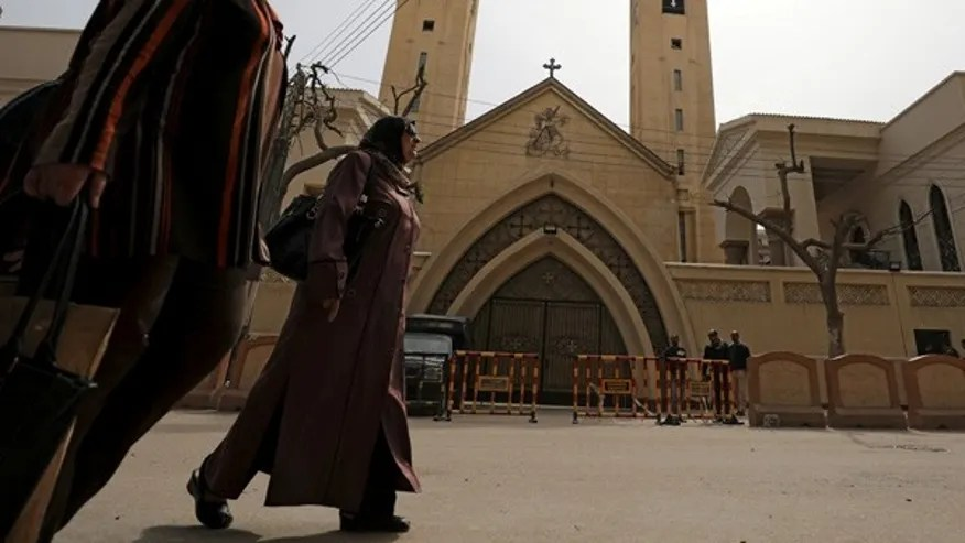 April 10, 2017 Women pass by the Coptic church that was bombed on Sunday in Tanta, Egypt. ISIS has recently increased their attacks on Egypt's Christian community.