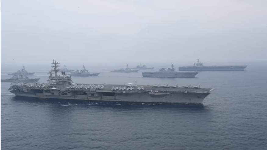 USS Ronald Reagan and USS Carl Vinson trained with Japanese forces in a routine training exercise Thursday. (U.S. Navy/YouTube)