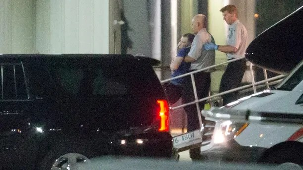 Otto Warmbier, a 22-year-old college student detained and imprisoned in North Korea, is carried off of an airplane at Lunken Airport in Cincinnati on Tuesday, June 13, 2017. Warmbier arrived in Ohio after being released by North Korea, where he was serving a 15-year prison term with hard labor for alleged anti-state acts. His parents have said he has been in a coma and was medically evacuated. (Sam Greene/The Cincinnati Enquirer via AP)