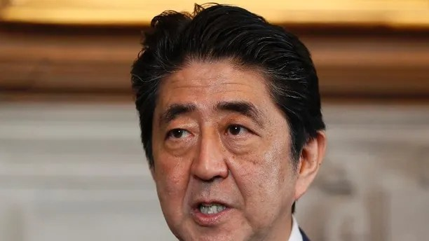 Prime Minister Shinzo Abe of Japan delivers a statement during a visit to Britain's Prime Minister Theresa May at Chequers near Wendover in Buckinghamshire, England, Friday, April 28, 2017. (AP Photo/Kirsty Wigglesworth, pool)
