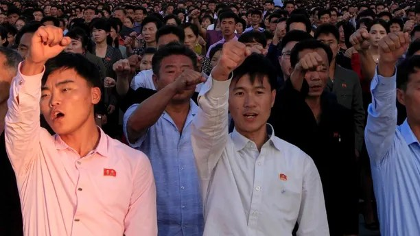 DELETES NUMBER OF PEOPLE - North Koreans gather at Kim Il Sung Square to attend a mass rally against America on Saturday, Sept. 23, 2017, in Pyongyang, North Korea, a day after the country's leader issued a rare statement attacking Donald Trump. (AP Photo/Jon Chol Jin)