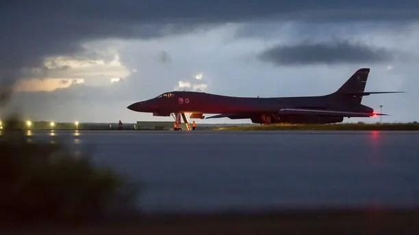 In this photo made available by the Department of Defense, a U.S. Air Force B-1B Lancer, assigned to the 37th Expeditionary Bomb Squadron, deployed from Ellsworth Air Force Base, S.D., prepares to take off from Andersen AFB, Guam, on Saturday, Sept. 23, 2017. The Pentagon says B-1B bombers from Guam and F-15 fighter escorts from Okinawa, Japan, have flown a mission in international airspace over the waters east of North Korea. (Staff Sgt. Joshua Smoot/U.S. Air Force via AP)