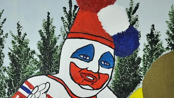 Pic from Caters News - Pictured: Serial Killer, John W Gacys artwork of Pogo the Clown which was the inspiration of Stephen Kings IT. for sale. Pic taken 21/09/2017.) - Chilling paintings by serial killer J W Gacy who was the inspiration for hit horror It are set to sell for up to 7,000 each. The rare artwork even features Pogo the Clown, evil Gacys alter-ego during his killing spree and messages written by him. Dubbed the killer clown, he murdered at least 33 teenaged boys and young men between 72 and 78 while also entertaining kids at parties. SEE CATERS COPY