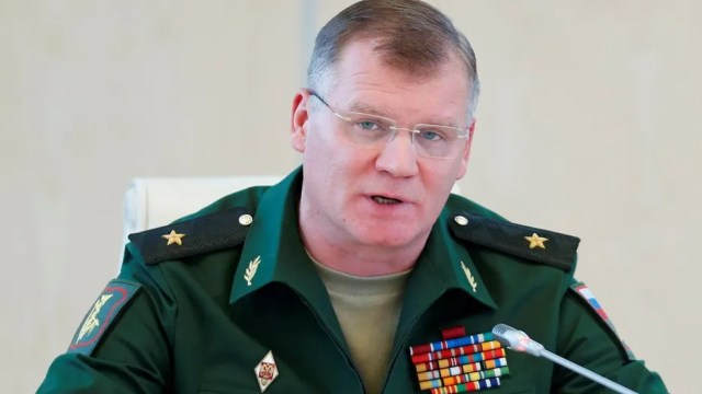 FILE 2016: Spokesman for the Russian Defence Ministry, Major-General Igor Konashenkov speaks during a news conference.