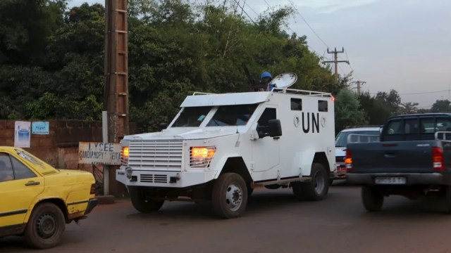 A United Nations armored vehicle on patrol in November 2015.