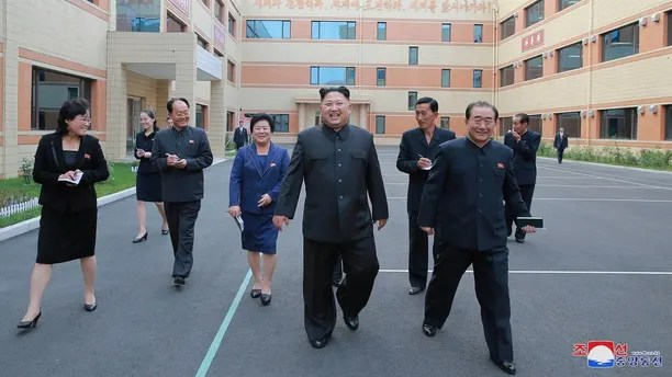 North Korean leader Kim Jong-Un visit Ryuwon Footwear Factory in this undated photo released by North Korea's Korean Central News Agency (KCNA) in Pyongyang on October 19, 2017. KCNA/via REUTERS    ATTENTION EDITORS - THIS IMAGE WAS PROVIDED BY A THIRD PARTY. REUTERS IS UNABLE TO INDEPENDENTLY VERIFY THIS IMAGE. NO THIRD PARTY SALES. SOUTH KOREA OUT. NO RESALES. NO ARCHIVES - RC16C9A3EE50