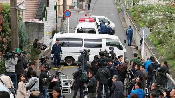 Members of the media gather near an apartment building where media reported nine bodies were found in Zama, Kanagawa Prefecture, Japan in this photo taken by Kyodo on October 31, 2017. Mandatory credit Kyodo/via REUTERS ATTENTION EDITORS - THIS IMAGE WAS PROVIDED BY A THIRD PARTY. MANDATORY CREDIT. JAPAN OUT. NO COMMERCIAL OR EDITORIAL SALES IN JAPAN. - RC13BC5CF6A0