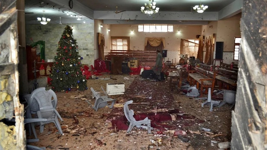 At least eight people were killed when two suicide bombers attacked a Pakistani church on Sunday, officials said.