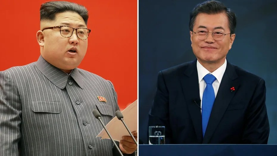 Image result for photos of kim jong un and south korea leader