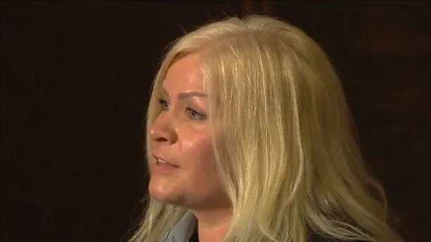 This Thursday, April 12, 2018 image from video, shows Tiina Jauhiainen, a friend of  Sheikha Latifa bint Mohammed Al Maktoum, speaking in a press conference at the Conrad Hotel in London, England. Jauhiainen said she was with Sheikha Latifa, a daughter of Sheikh Mohammed bin Rashid Al Maktoum, Dubai's ruler, when she fled the United Arab Emirates in a cloak-and-dagger escape by sea in March 2018, but they were thwarted when commandos intercepted their sailboat in the Arabian Sea. Since then, the whereabouts of Sheikha Latifa are unknown, said Herve Jaubert, a French ex-spy who told The Associated Press that he helped organize her escape attempt. (AP Photo)