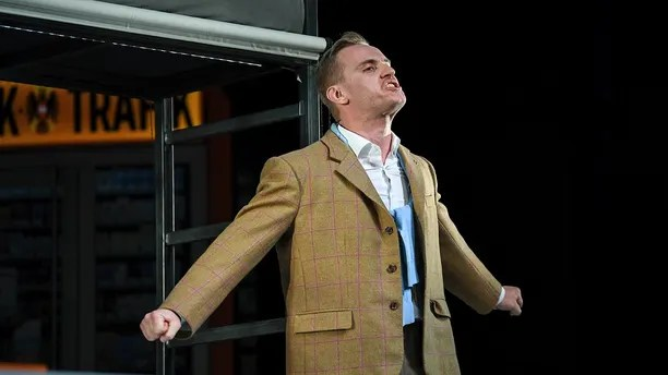 """In this April 18, 2018 photo actor  Peter Posniak in the role of Hitler performs during a rehearsal in Konstanz, Germany. The Konstanz Theater's production of George Tabori's """"Mein Kampf"""" opens Friday night April 20, 2018 for a monthlong run. Though named after Hitler's infamous anti-Semitic manifesto, the play tells a fictional story of how a young Hitler is befriended by a Jewish man who puts him on his political path. (Felix Kaestle/dpa via AP)"""