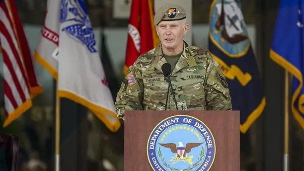 """Commander of U.S. Special Operations Command, Army Gen. Raymond """"Tony"""" Thomas, gives remarks after assuming command of USSOCOM Mar. 30, at MacDill Air Force Base, Fla.  The former Commander, Army Gen. Joseph L. Votel, will become the commander of U.S. Central Command. (Photo by Tech. Sgt. Angelita M. Lawrence)"""
