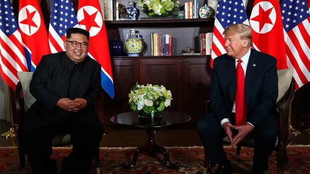 President Donald Trump meets with North Korean leader Kim Jong Un on Sentosa Island, Tuesday, June 12, 2018, in Singapore. (AP Photo/Evan Vucci)