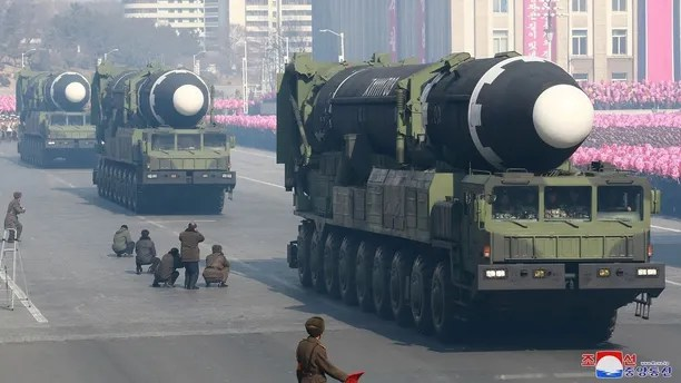Intercontinental ballistic missiles are seen at a grand military parade celebrating the 70th founding anniversary of the Korean People's Army at the Kim Il Sung Square in Pyongyang, in this photo released by North Korea's Korean Central News Agency (KCNA) February 9, 2018. KCNA/via REUTERS  ATTENTION EDITORS - THIS PICTURE WAS PROVIDED BY A THIRD PARTY. REUTERS IS UNABLE TO INDEPENDENTLY VERIFY THE AUTHENTICITY, CONTENT, LOCATION OR DATE OF THIS IMAGE. NO THIRD PARTY SALES. NOT FOR USE BY REUTERS THIRD PARTY DISTRIBUTORS. SOUTH KOREA OUT     TPX IMAGES OF THE DAY - RC19096FDE60